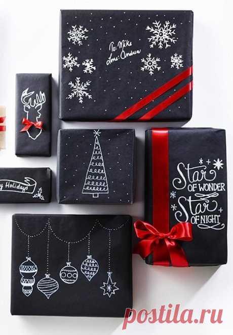 При правильном подходе даже черная упаковочная бумага выглядит празднично.
