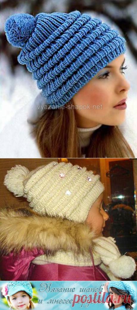 Зимняя шапочка спицами со складочками и помпоном | Вязание Шапок - Модные и Новые Модели
