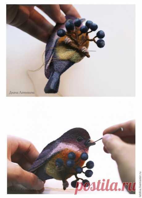 Валяем брошь «Птица – сентябринка» | Журнал Ярмарки Мастеров