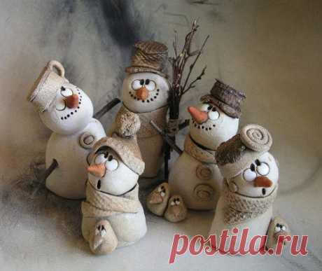 (2) Hejno sněhuláků na přání... | Paper clay