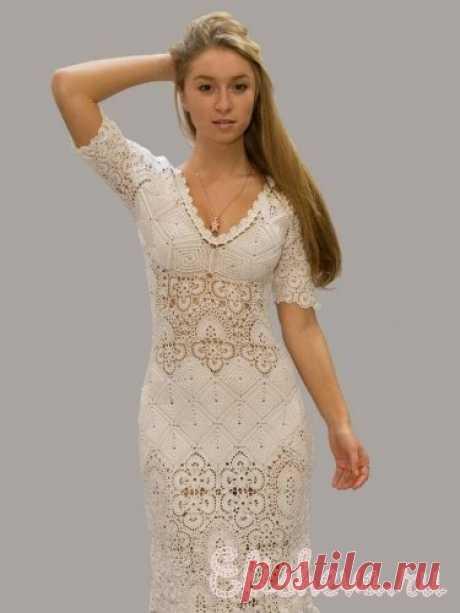 Вечернее платье цвета топленого молока вязаное крючком | Блог elisheva.ru
