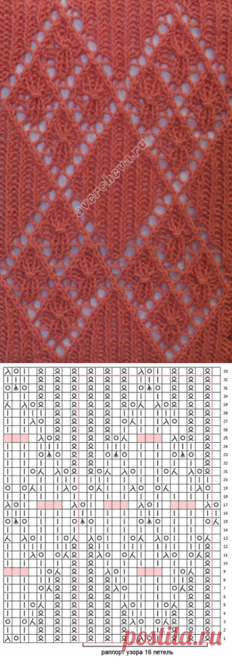 узор 175 ажурные ромбы| каталог вязаных спицами узоров