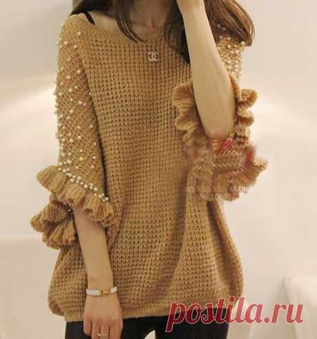 Джемпер крючком Вариант с расширенными рукавами - интересная модель, как Вам кажется?