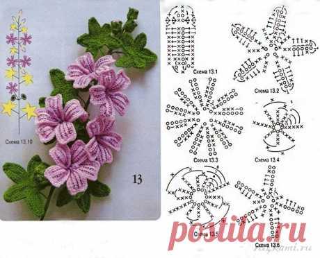 Вяжем крючком цветочки и листочки — DIYIdeas