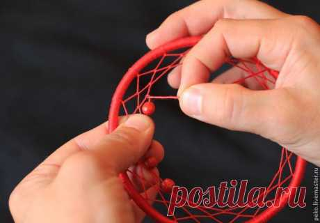 Step-by-step scheme of weaving of Dreamcatcher