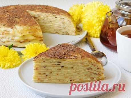 Блинный торт с заварным кремом рецепт с фото пошагово - 1000.menu