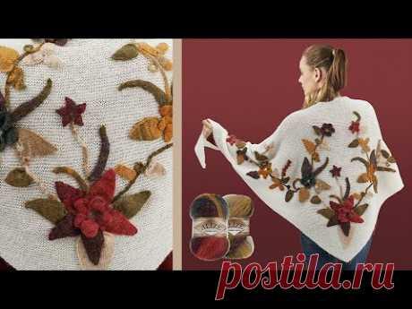 Alize Angora Gold Batik ile Aplikeli Şal • Embroidery Shawl • АППЛИКАЦИОННАЯ ШАЛЬ
