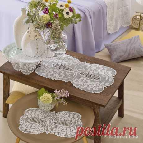 Схема реализации набора из трех салфеток крючком, пачки филе с лентой и цветами
