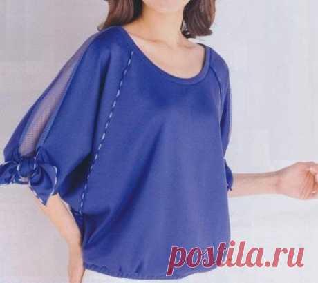 """Блуза с рукавами """"летучая мышь"""" и кулиской по низу. Выкройка на параметры ОГ82-ОТ66-ОБ90. #простыевыкройки #простыевещи #шитье #блузка #блуза #выкройка"""