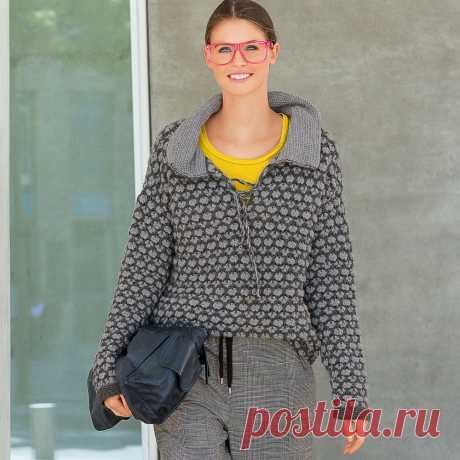 Пуловер с воротником и шнуровкой - схема вязания крючком с описанием на Verena.ru