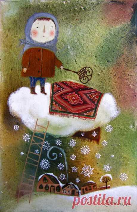 мне не нужен праздник  с буйством мишуры зиму жду чтоб выбить на снегу ковры