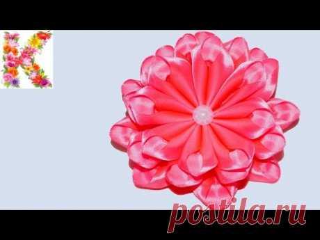 канзаши для начинающих,мастер класс,DIY kanzashi tutorial flower