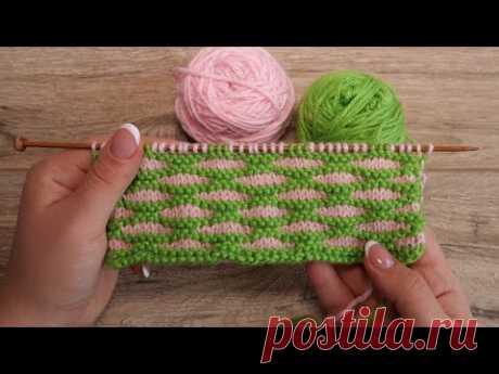 Двухцветный узор спицами «Продолговатые ячейки» | Two-color knitting pattern «Oblong cells»