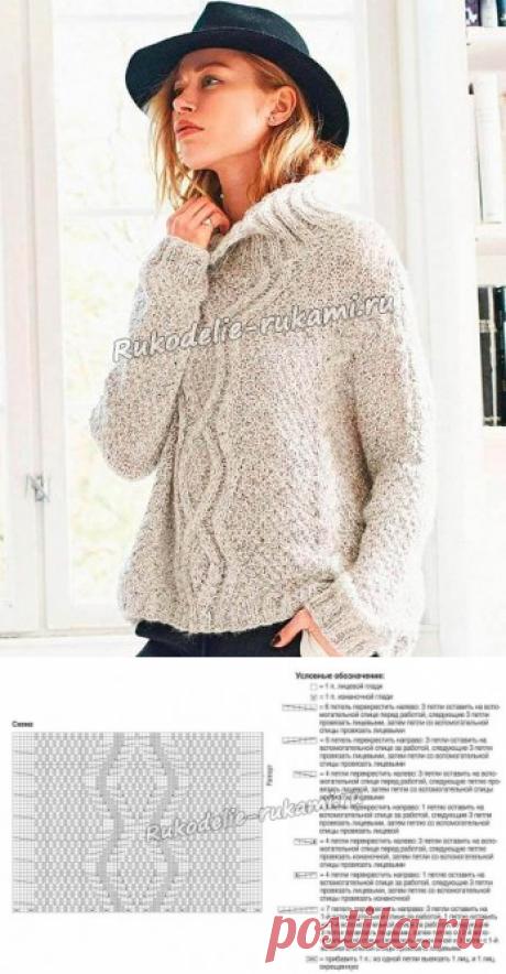 Пуловер оверсайз с арановым узором и косами спицами - схемы для вязания