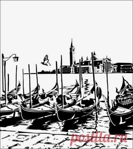Пескоструйный рисунок гондолла венеция для  плоттерной резки, дизайнерский шкаф-купе.