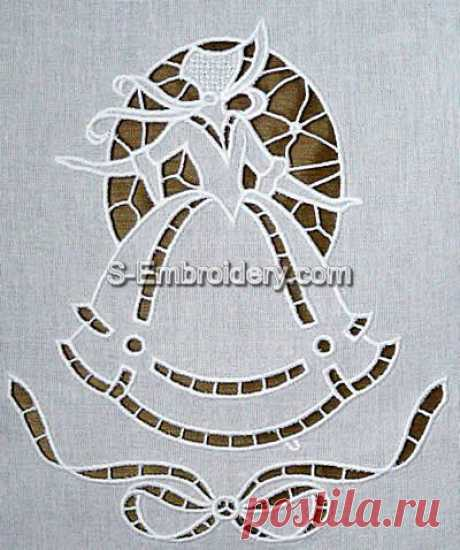 Machine embroidery cutwork - 10459 Victorian girl cutwork lace embroidery