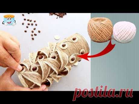 WONDERFUL IDEA FOR VASE FROM JUTE do it yourself. DIY