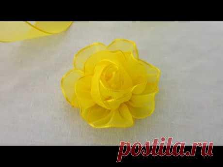 Amazing Ribbon Flower Work - Hand Embroidery Design - Ribbon Tricks - Easy Flower Making Ideas