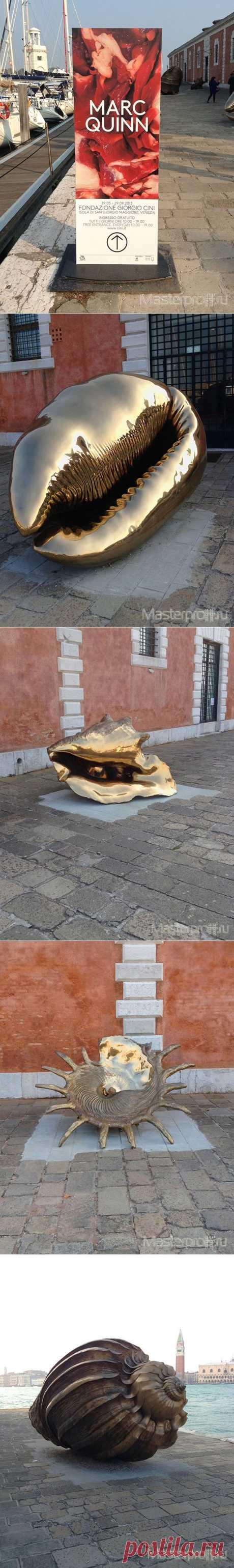 Ракушки Марка Куинна на Венецианском биеннале    55-й Венецианская биеннале прошла в 2013 году. Во время выставки весь город становится огромной площадкой для самых разных арт-объектов. В этот раз самыми яркими из них были гигантские ракушки созданные скульптором Марком Куинном (Marc Quinn).