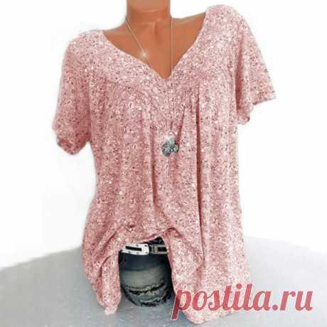 Модная футболка с принтом на каждый день Лето футболка Женская туника с v образным вырезом Топы Женский Плюс Размеры для женщин с коротким рукавом рубашка Blusas пуловер|Футболки| | АлиЭкспресс