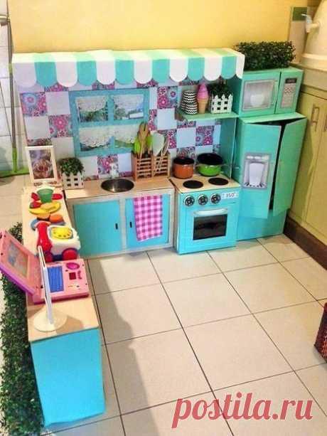 Картонная кухня для девочки своими руками