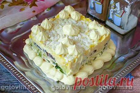 Слоеный салат «Невеста» с копченой курицей.