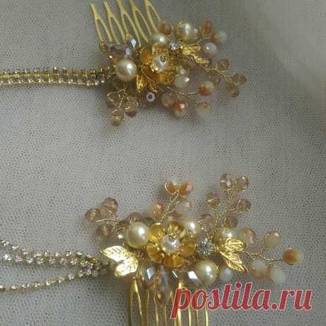 Двойной золотистый гребень элегантно украсит свадебную или вечернюю прическу.