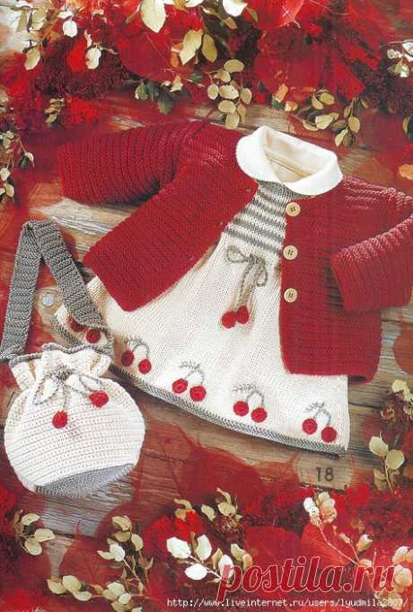 Вязание для девочек кофточки, платья и сумочки