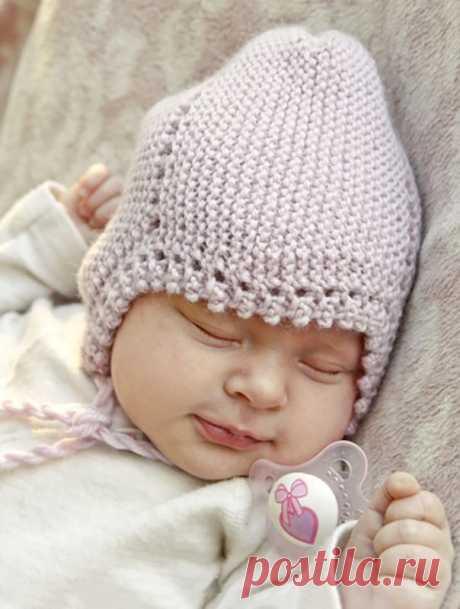 Шапочка спицами для новорожденного - Портал рукоделия и моды