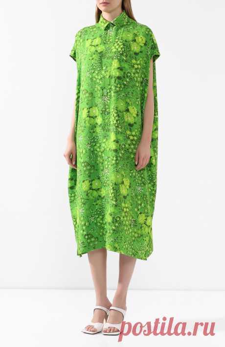 Женское зеленое платье-миди BALENCIAGA — купить за 104500 руб. в интернет-магазине ЦУМ, арт. 576677/TILD2