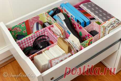 Office Drawer Organizing DIY with free materials Use old boxes and containers and do some office drawer organizing. It is easy, free and looks so cute. And you'll never have to search for the stapler again.