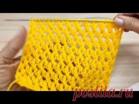 Ажурная сеточка или сетчатый узор. Вязание спицами.