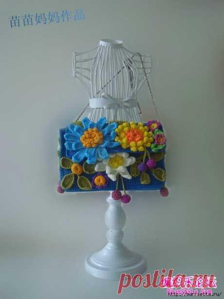 Вязание крючком. Сумочки с цветами. Идеи