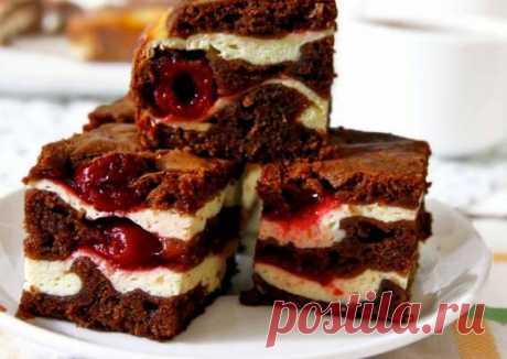 Брауни с вишней и творогом - пошаговый рецепт с фото. Автор рецепта Natalija . - Cookpad