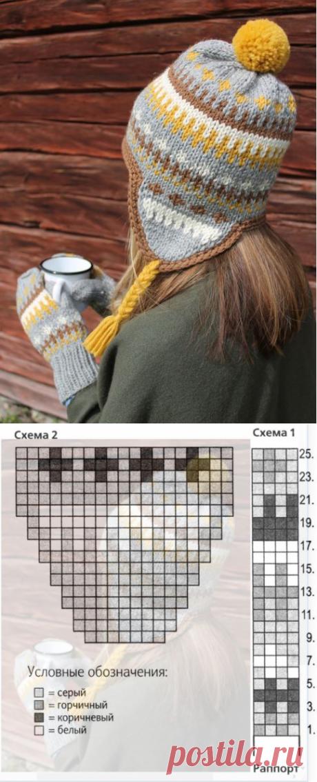 Женская вязаная шапка ушанка спицами схема зимней шапки и описание вязания для женщин