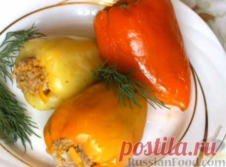 Рецепт: Болгарский перец, фаршированный мясом и рисом на RussianFood.com