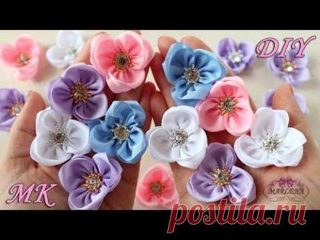 🌺 Цветы из репсовой ленты. Ободок с цветами МК/DIY - YouTube