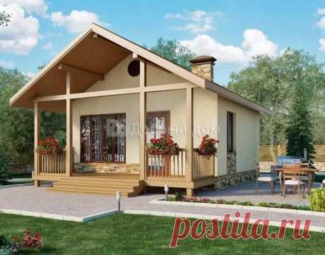 Проект одноэтажного дачного домика AS-2142-2 из газобетона 6 на 6 метров