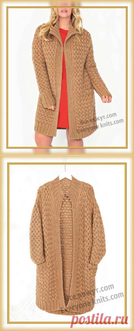 Кардиган плетённым узором с описанием вязания и схемой узора. | Все вяжут.сом/Everyone knits.com | Яндекс Дзен