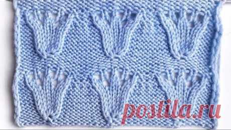 Оригинальный узор спицами Тюльпаны для вязания плечевых изделий, палантинов, пледов