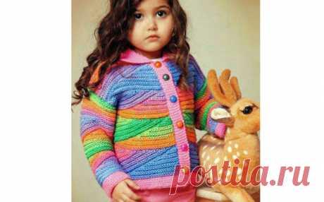 Разноцветный жакет для девочки. Спицы Вязаный спицами разноцветный (радужный) жакет для девочки. Описание