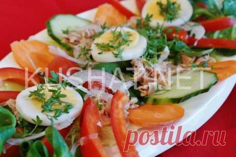 Салат с тунцом, огурцами и помидорами. Рецепт с фото • Кушать нет
