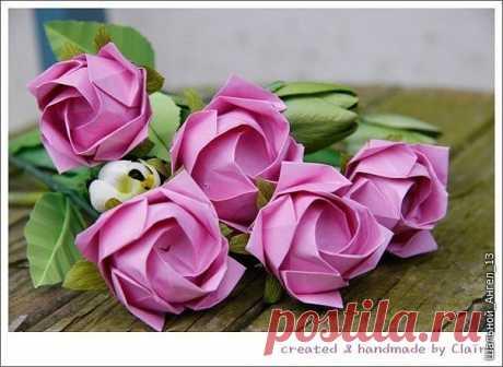 Шикарные розы в технике оригами. Мастер-класс.