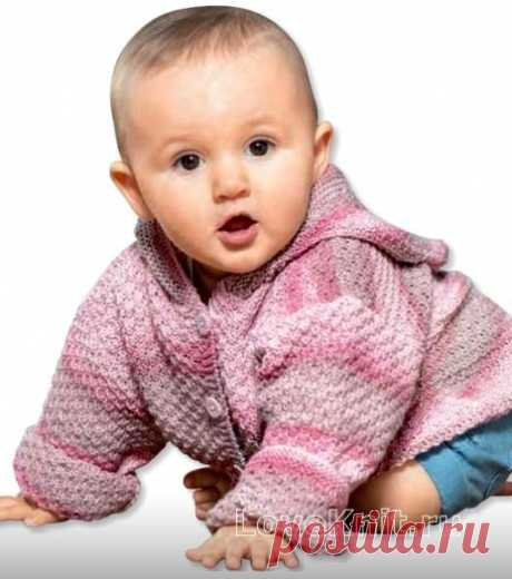 "Jacket in a strip with a hood for the child about one year the scheme"" I Like to Knit"