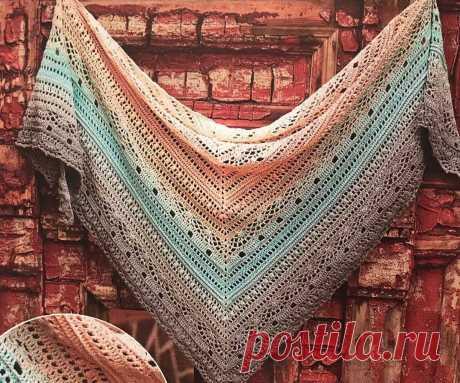 Симпатичный вязанный треугольный шарф (бактус) крючком. Схема, описание.   Рукодельница и домохозяйка   Яндекс Дзен