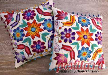 Peruvian Pillow covers Hand embroidered flowers 16 x 16 Sheep & alpaca wool  handmade Set of 2 Cream Peruvian Pillow covers Hand embroidered flowers 16 x 16 Sheep & alpaca wool…