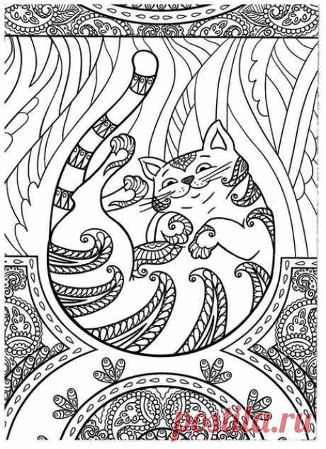 """Раскраска """"Коты и волшебные миры"""""""