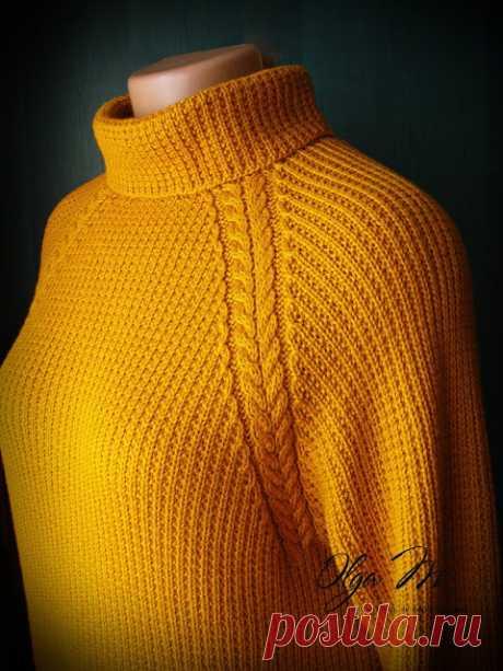 Уютный свитер янтарного цвета. Спицы. Два варианта воротника.