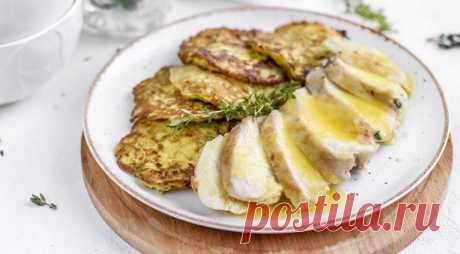 Оладьи из кабачка с куриным филе и апельсиновым соусом, пошаговый рецепт с фото