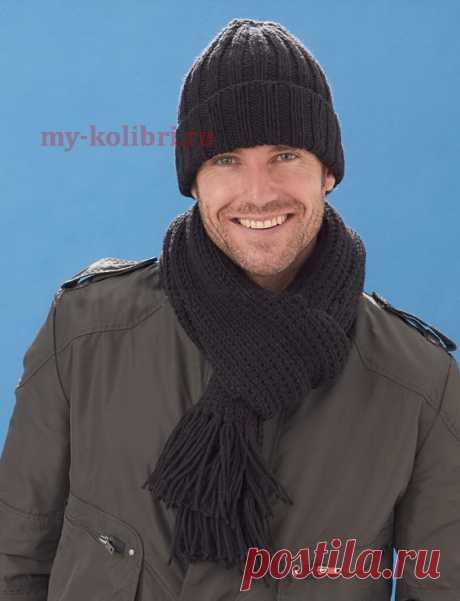 Простая мужская шапка спицами с отворотом и шарф - Колибри Комплект из шарфа и шапки для мужчины должен обладать несколькими качествами. Во-первых, эти вещи до